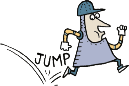 Illustration of a male medieval knight running. Text behind the knight JUMP