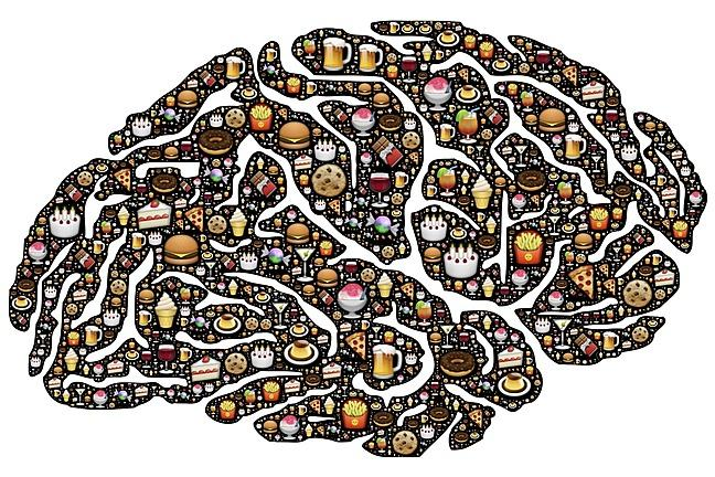 Graphic image of a brain full of food items
