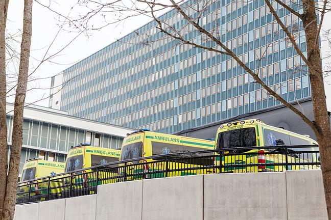 4 ambulances waiting in the hospital carpark