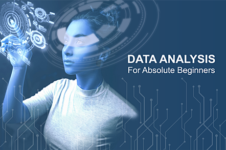 Activity header image: An individual with data hologram around her head. Text: Data Analysis for Absolute Beginners