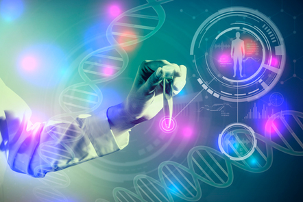 DNA and medical technology concept, biotechnology, gene recombination.
