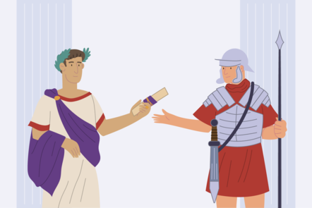 Caesar handing an encrypted message to one of his soldiers