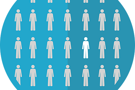 popuRare diseases population cohort identification blue background circle white vector stick figure icons.lation color group