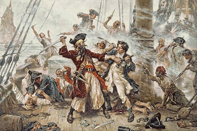 The capture of the pirate Blackbeard.