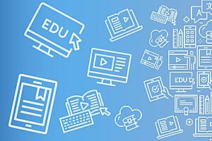 Blue background with lots of white icons related to online learning e.g. a computer screen.