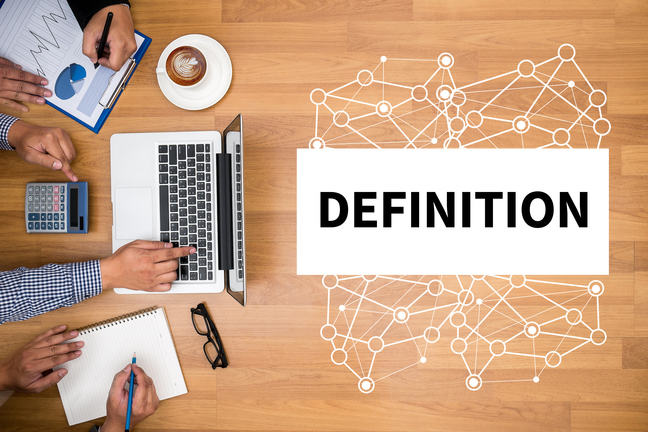 "Three people looking at their laptop, with the word ""definition"" to the right"