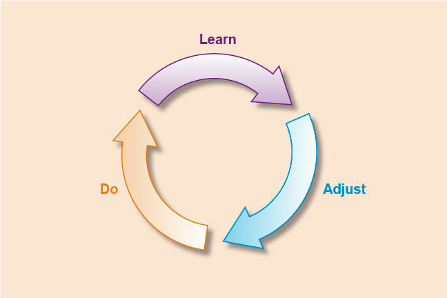Arrows in a circle marked Learn, Adjust, Do.