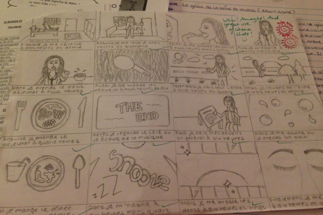 Storyboard drawn and annotated in French