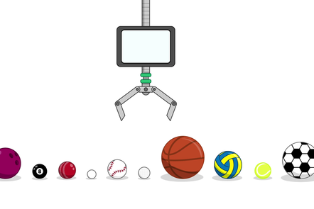 A set of 10 sports balls, with a robotic claw above them. The balls in order from the left are a bowling ball, a pool ball, a cricket ball, a ping-pong ball, a baseball, a golf ball, a basketball, a netball, a tennis ball and a soccer ball.