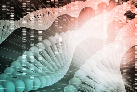 A modern genetics and DNA analysis background concept in green white and light pink shades on a dark background.