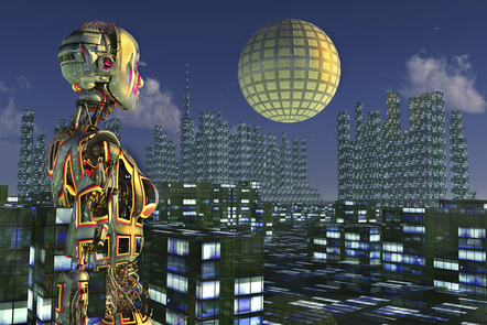 Computer generated image of a robot looking out on to a metropolis