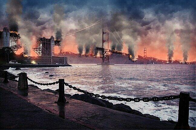 This image shows factories emitting pollution on the coast linking pollution sources with the ocean.