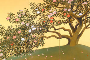 A  folding screen with camelia in bloom by Japanese artist Hayami Gyoshû, an allegory of harmony.