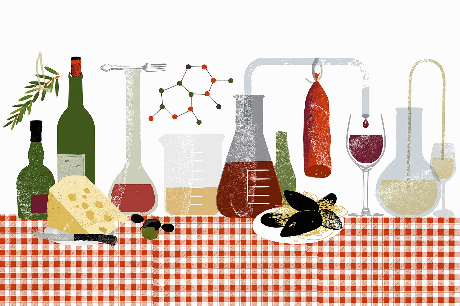 An illustration of a table cloth laid with both food and drink and laboratory equipment – a metaphor for nutritional science