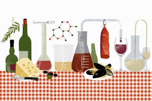 Nutritional science: an illustration of a table laid with food, drink and chemistry equipment