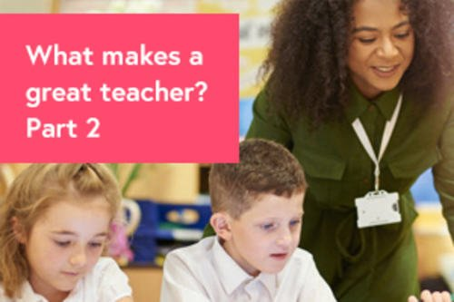 Photo of teacher helping students