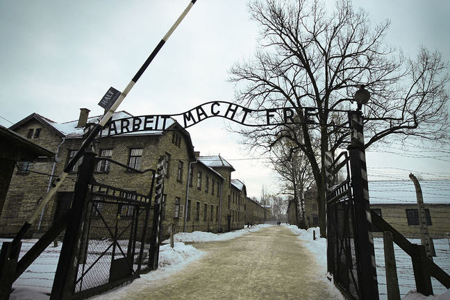 "The inscription on the gate to the Auschwitz concentration camp (Poland): ""Work makes you free."""