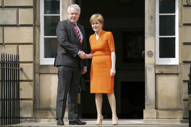 Welsh First Minister Carwyn Jones and Scottish First Minister Nicola Sturgeon Shaking Hands on the Doorstep of Bute House
