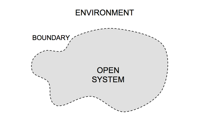 An open system is enclosed by a contour which separates it from the environment.