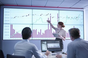 Businesswoman making presentation to colleagues in front of graphs on screen.