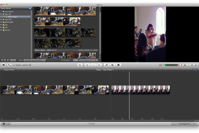 Timeline screen from editing package iMovie