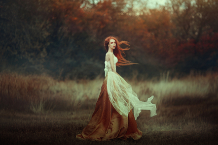 A woman in a long dress trailing through a forest...