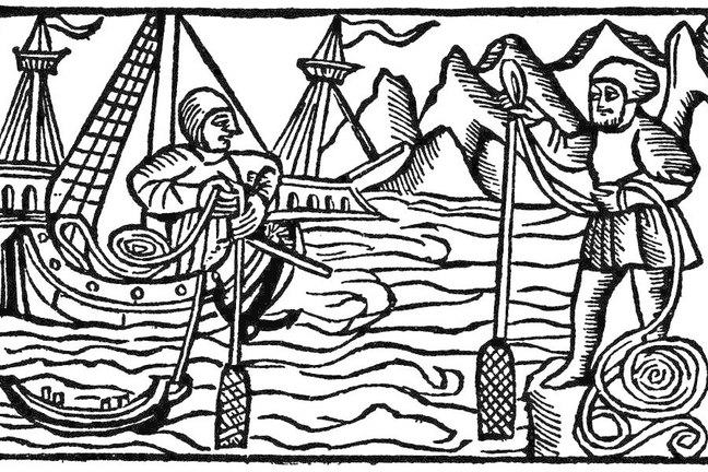 Woodcut of a ship approaching the shore, a sailor is using the sounding lead