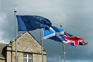 EU, UK and Scottish Flags Outside the Scottish Parliament in Holyrood, Edinburgh