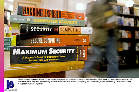 A collection of books on cybersecurity.