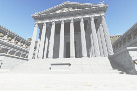 A digital recreation of a white marbled temple with large columns on the front.