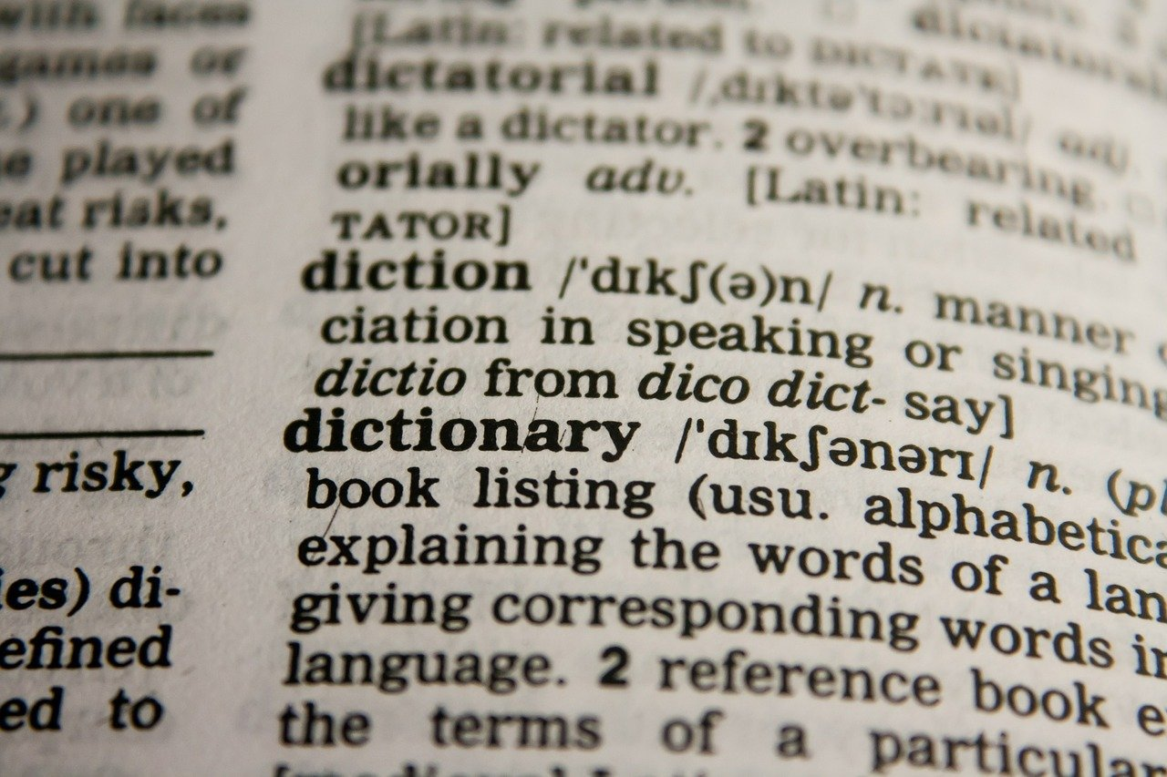 A hard copy book showing a dictionary entry