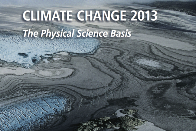 "Frontpage of the report ""Climate Change 2013: The physical Science Basis"" , the scientific contribution from Working Group I to the IPCC Fifth Assessment Report (WH1 AR5)."