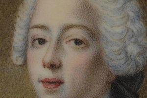 Oval miniature of Prince Charles Edward Stuart, wearing white powdered wig, under glass, with metal mount nailed to a shaped piece of mother-of-pearl
