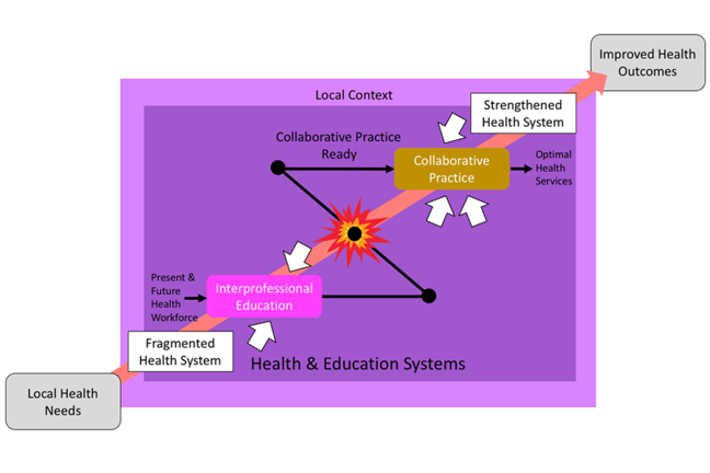 Graphic showing Role of IPE in health and education systems, WHO 2010