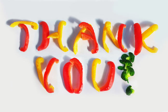 'Thank you' spelled out in colourful vegetable pieces