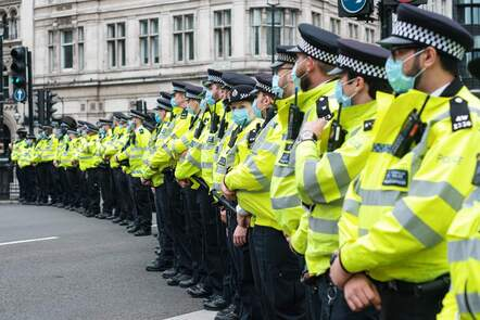 Row of police officers