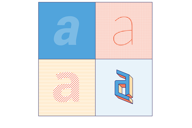 """An image displaying the letter """"a"""" in four different fonts and colours, each with different background colours. Designed to be illustrate text that is hard to read/inaccessible"""