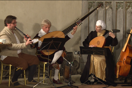 Sam Ogle (cornetto), Robin Jeffrey (theorbo) and Lynda Sayce (lute) in Baron's Hall at Penshurst Place