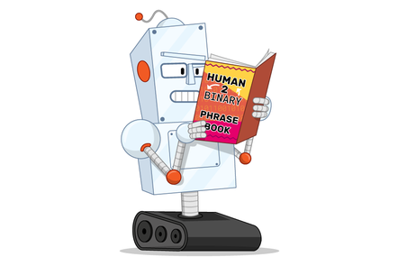 Robot reading 'Human 2 Binary Phrase Book'