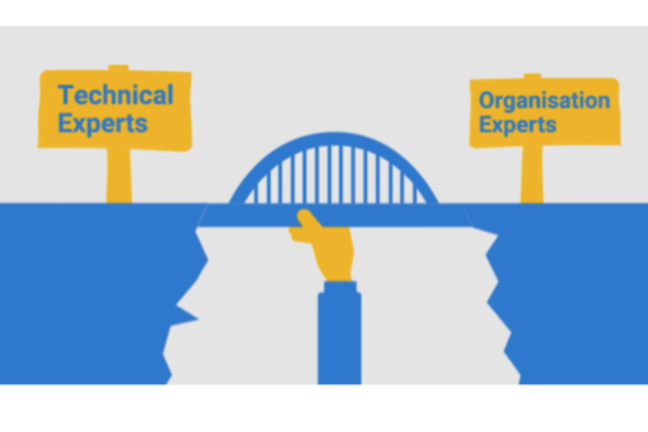 image of a bridge with a sign reading 'technical experts' on the left and 'organisation experts' on the right.