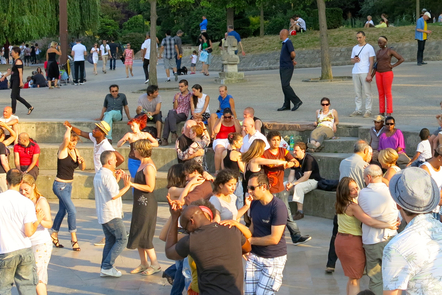 Diverse people dancing in the public space