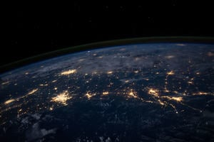 Network of city lights at night