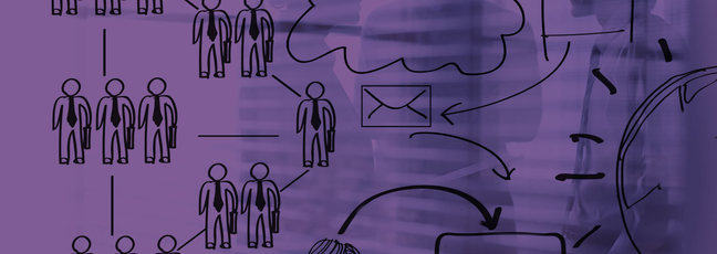 Management diagrams over a picture of people in the workplace
