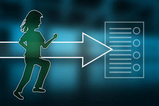 Image of a person being active moving towards a plan