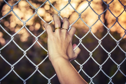 Hand with wedding ring holding chicken wire fence