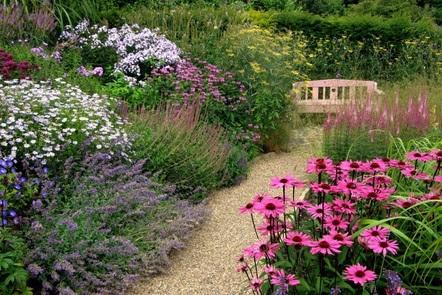 Cottage garden scene with garden seat