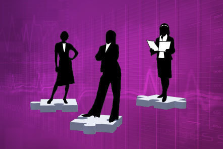Illustration of three silhouetted female business women