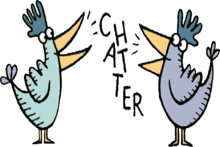 Illustration of two roosters standing facing each other. Text between the roosters chatter