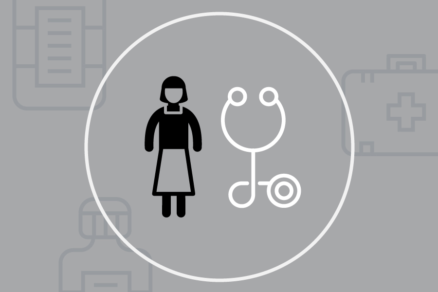A cartoon image of a person is standing beside a stethoscope. A white line encircles both figures while medical equipment is drawn in the grey background.