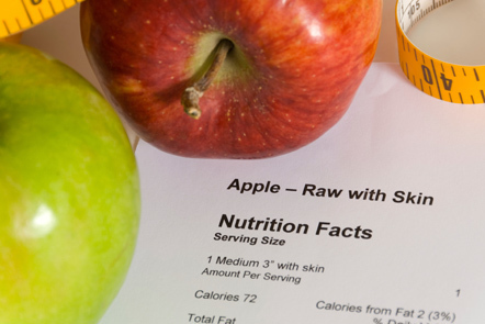 Composite photograph featuring apples, tape measure and nutrition information.